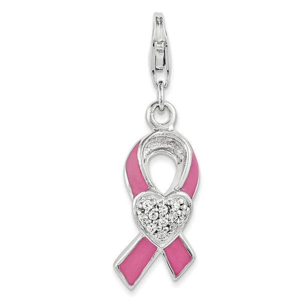 Sterling Silver Enameled With CZ Awareness Ribbon & Heart Charm