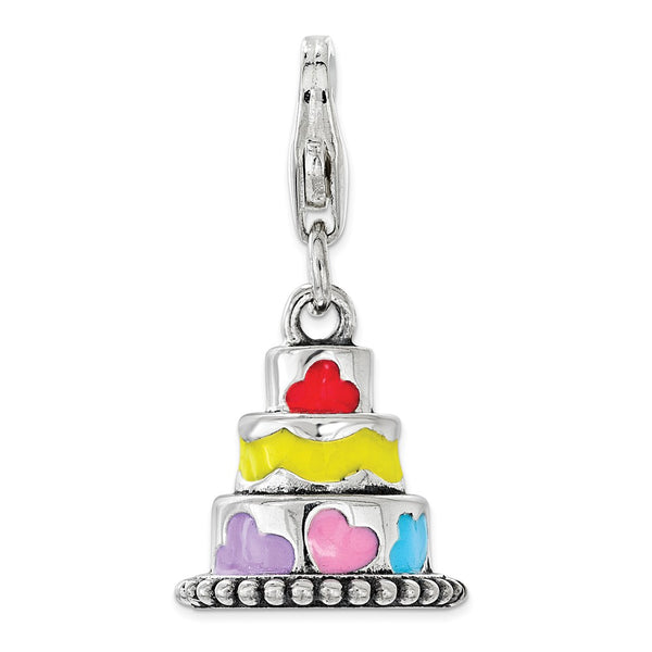 Sterling Silver Multi-color Enameled Cake with Lobster Clasp Charm