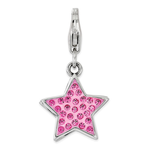 Sterling Silver Pink Swarovski Star with Lobster Clasp Charm