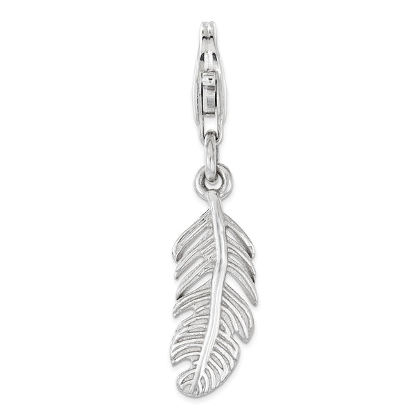 Sterling Silver Polished Feather with Lobster Clasp Charm