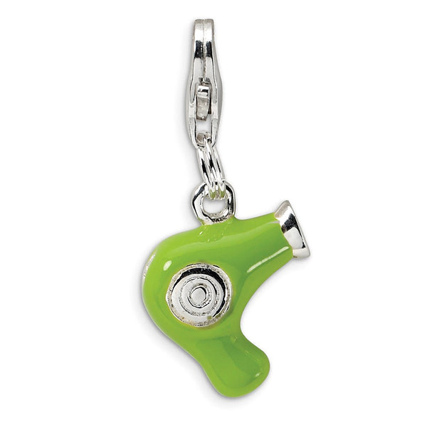 Sterling Silver Green Enameled Hair Dryer w/Lobster Clasp Charm