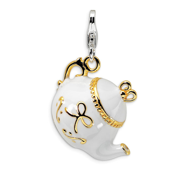 Sterling Silver Gold-plated WhiteEnameled Tea Pot w/Lobster Clasp Charm