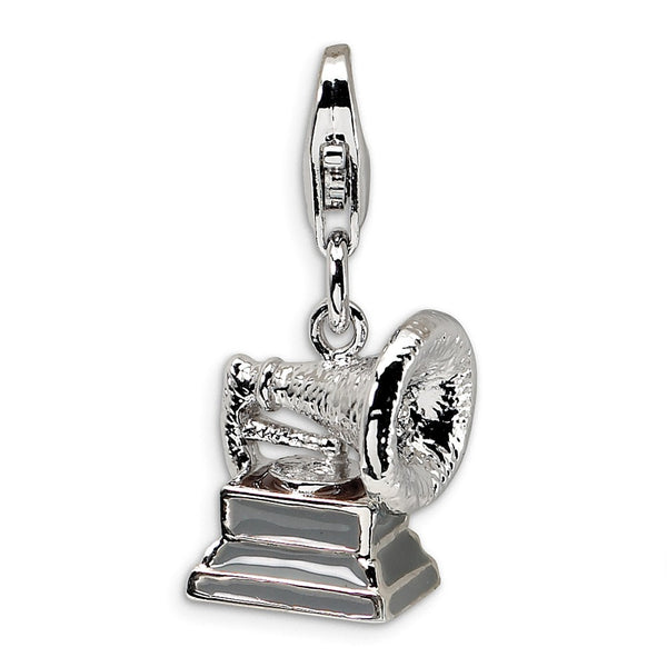 Sterling Silver 3-D Polished Phonograph w/Lobster Clasp Charm