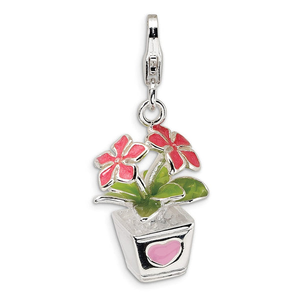 Sterling Silver 3-D Enameled Potted Flowers w/Lobster Clasp Charm
