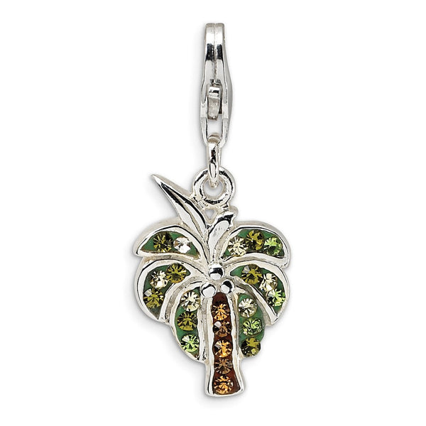 Sterling Silver Polished Swarovski Element Palm Tree w/Lobster Clasp Charm