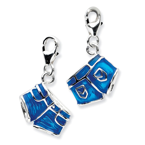Sterling Silver 3-D Enameled Jean Shortsw/Lobster Clasp Charm