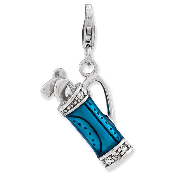 Sterling Silver Enameled 3-D Golf Bag and Clubs w/Lobster Clasp Charm
