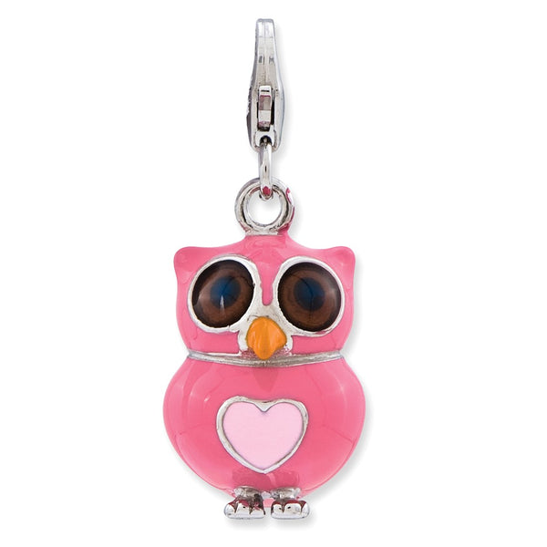 Sterling Silver Enameled 3-D Heart Owl w/Lobster Clasp Charm