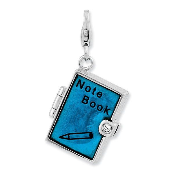 Sterling Silver Enameled 3-D Note Book w/Lobster Clasp Charm