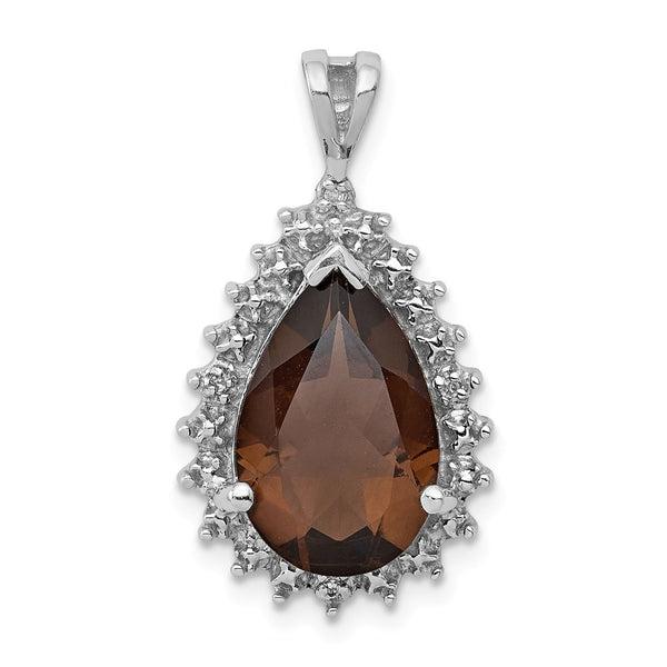 Sterling Silver Rhodium Smoky Quartz & Diamond Pear Pendant