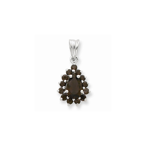 Sterling Silver Rhodium Smoky Quartz Pendant