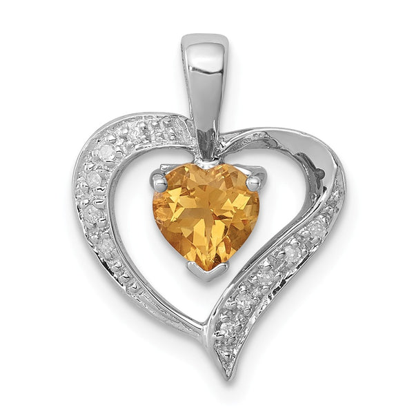 Sterling Silver Rhodium Heart Citrine & Diamond Heart Pendant