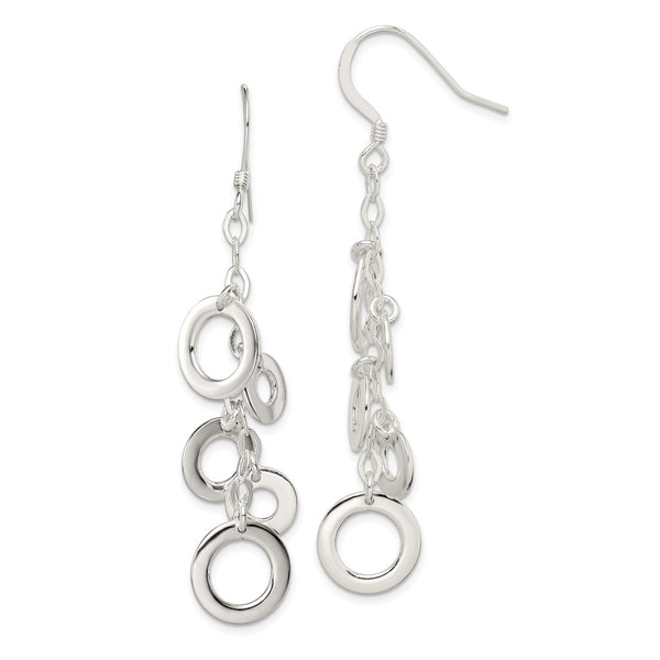 Sterling Silver Multi-Circle Drop Earrings