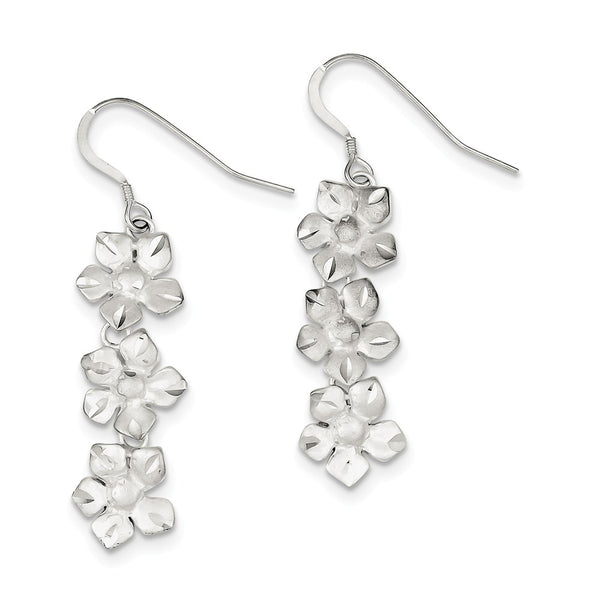 Sterling Silver Triple Flower Dangle Wire Earrings