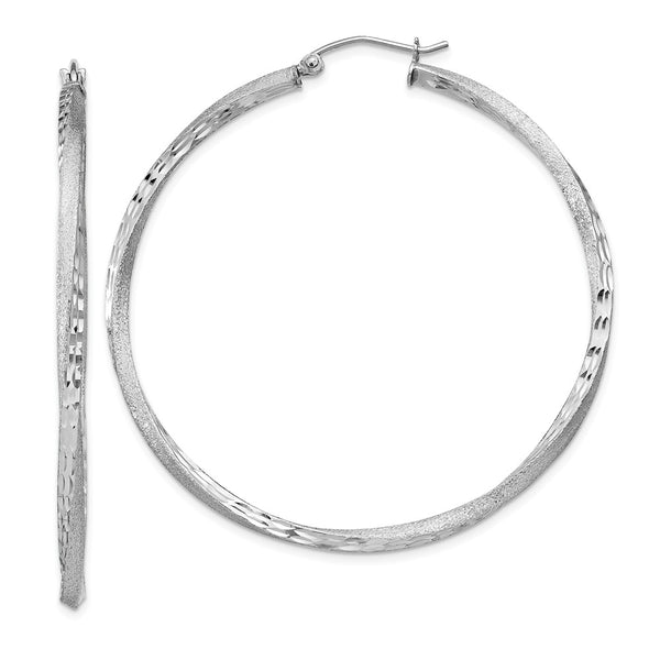 Sterling Silver Rhodium-plated Satin & Diamond Cut Twist Hoop Earrings