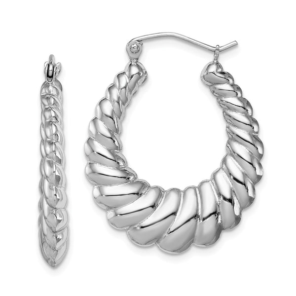 Sterling Silver Rhodium-plated Shrimp Hoop Earrings