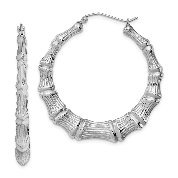 Sterling Silver Rhodium-plated Bamboo Hoop Earrings