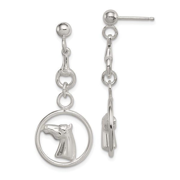 Sterling Silver Horse Circle Dangle Post Earrings