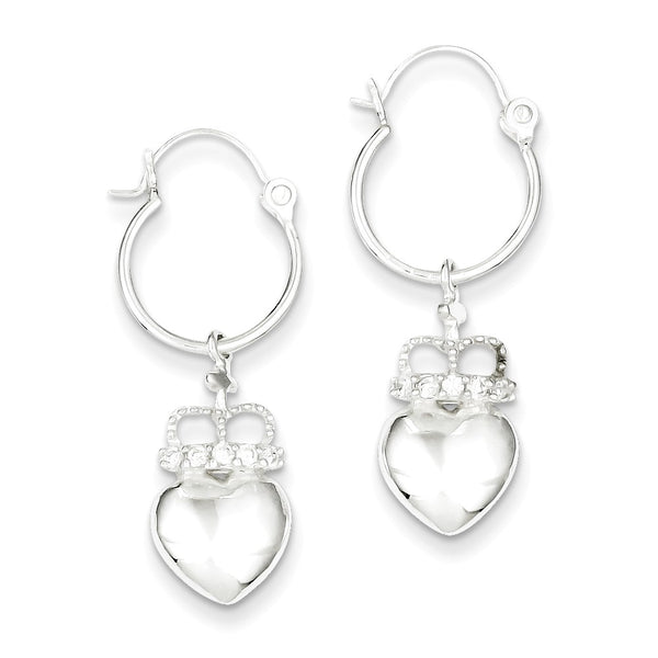Sterling Silver CZ Heart & Crown Hoop Earrings