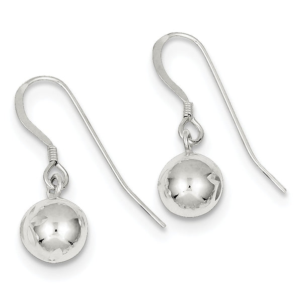 Sterling Silver 8mm Diamond Cut Bead Dangle Earrings