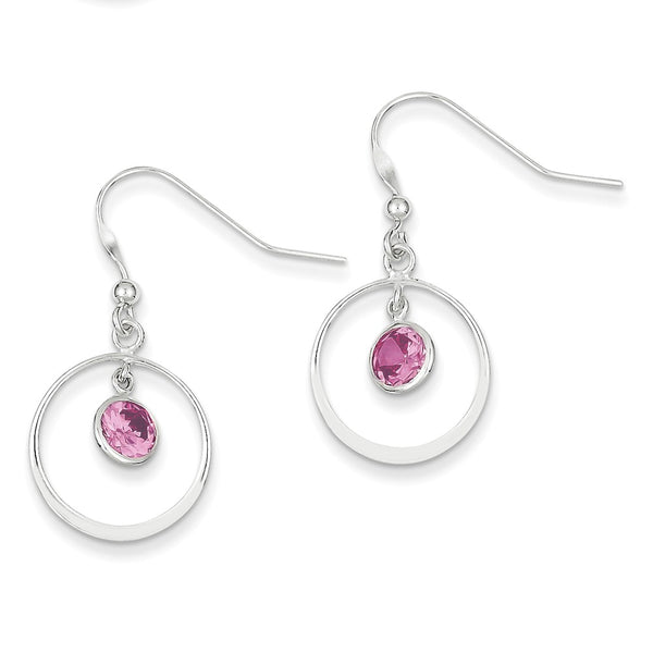 Sterling Silver Circle Dangle Pink CZ Earrings