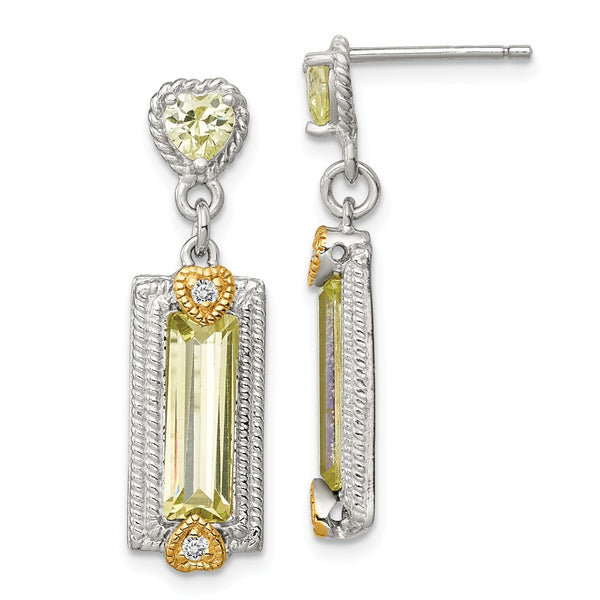 Sterling Silver & Vermeil Light Green CZ Post Earrings