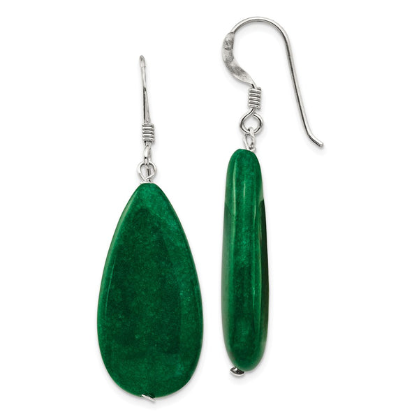 Sterling Silver Dark Green Jade Earrings