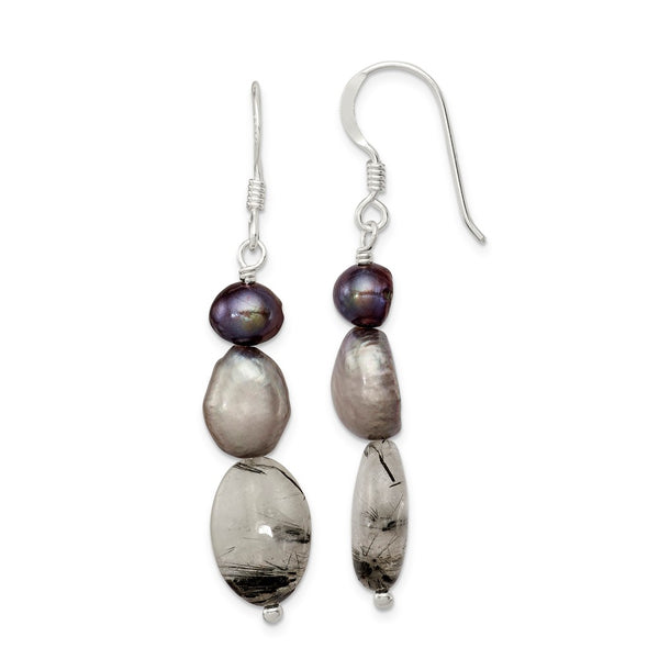 Sterling Silver Tourmalinated Quartz & Grey FW Cultured Pearl Ear