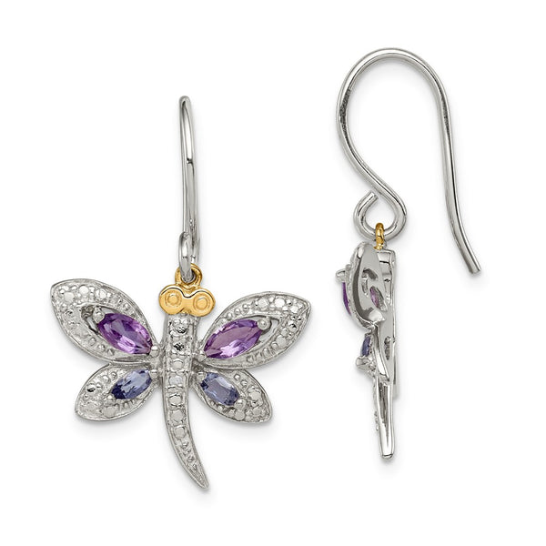 Sterling Silver & 14K Amethyst and Iolite and Diamond Dragonfly Earrings