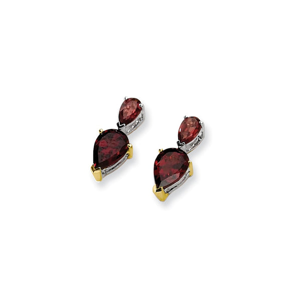 Sterling Silver & 14K Garnet Earrings