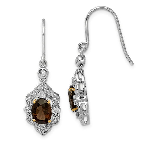 Sterling Silver & 14K Smoky Quartz, White Topaz & Diamond Earrings