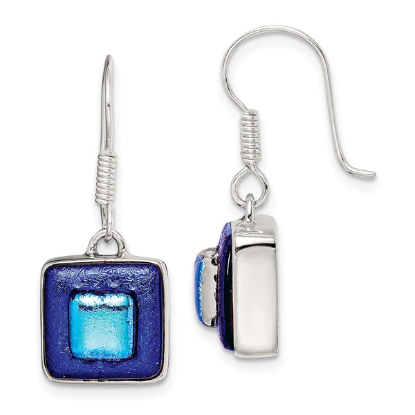 Sterling Silver Blue Dichroic Glass Square Shaped Dangle Earrings