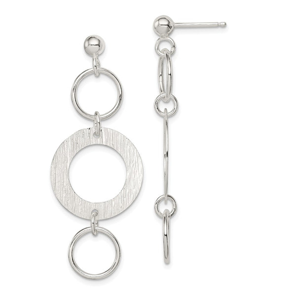Sterling Silver Polished & Textured Fancy Circle Dangle Post Earrings