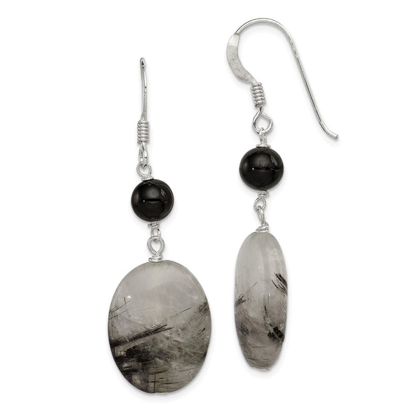 Sterling Silver Black Crystal/Tourmalinated Quartz Earrings