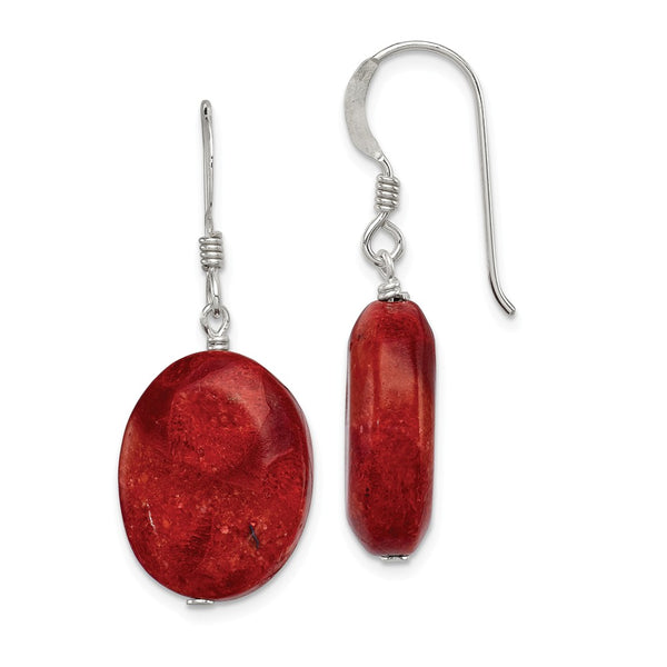 Sterling Silver Reconstituted Red Coral Earrings