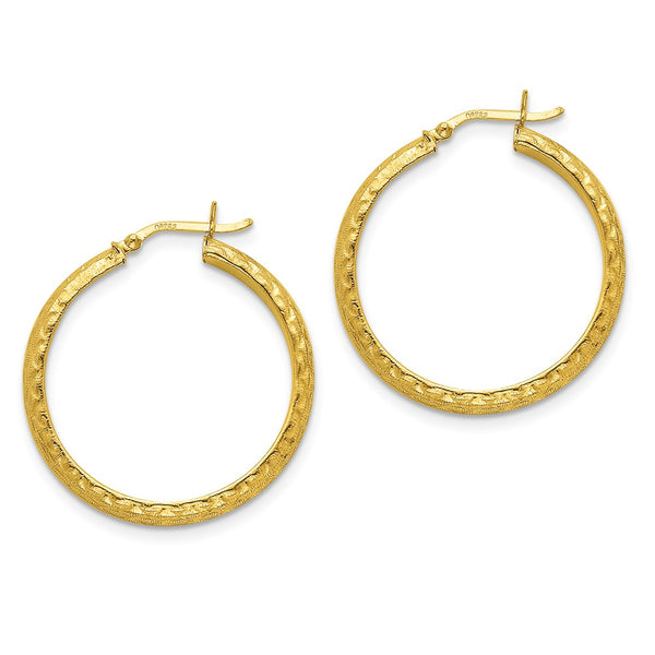 Sterling Silver Gold-flashed Patterned 35mm Hoop Earrings