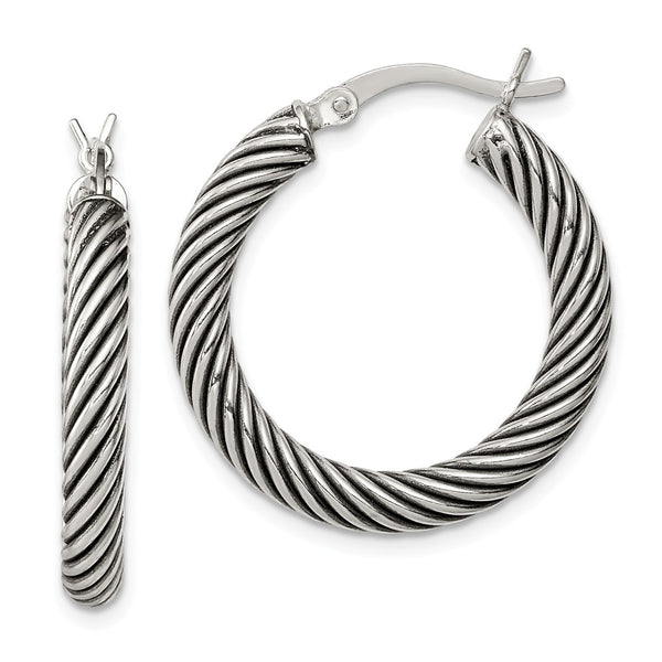 Sterling Silver Antiqued Open Twist Hoop Earrings