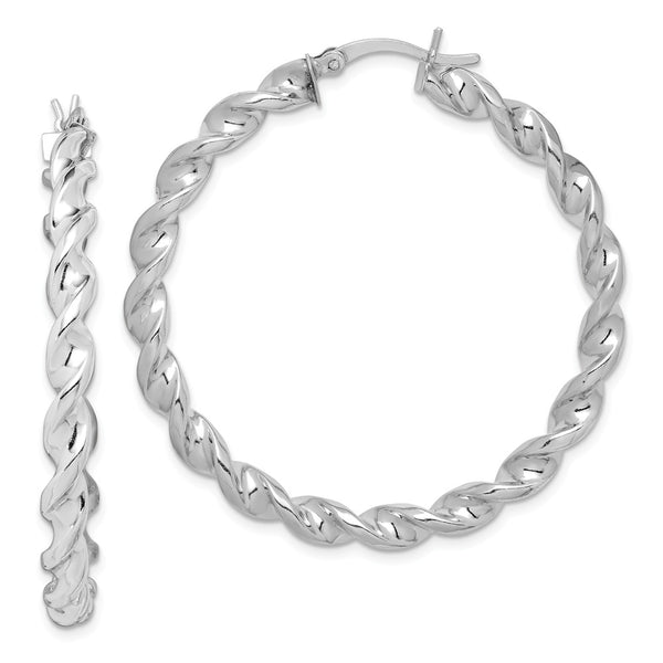 Sterling Silver Rhodium Plated Twist 45mm Hoop Earrings