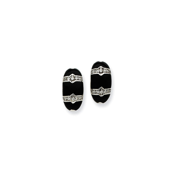 Sterling Silver, CZ & Stone Black Polished Fancy Earrings