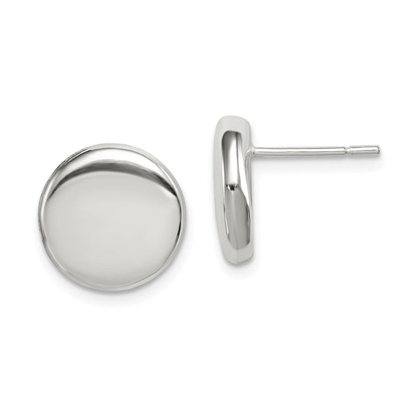 Sterling Silver Polished Button Post Earrings