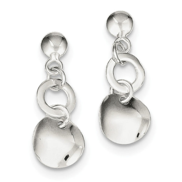 Sterling Silver Polished Round Dangle Post Earrings