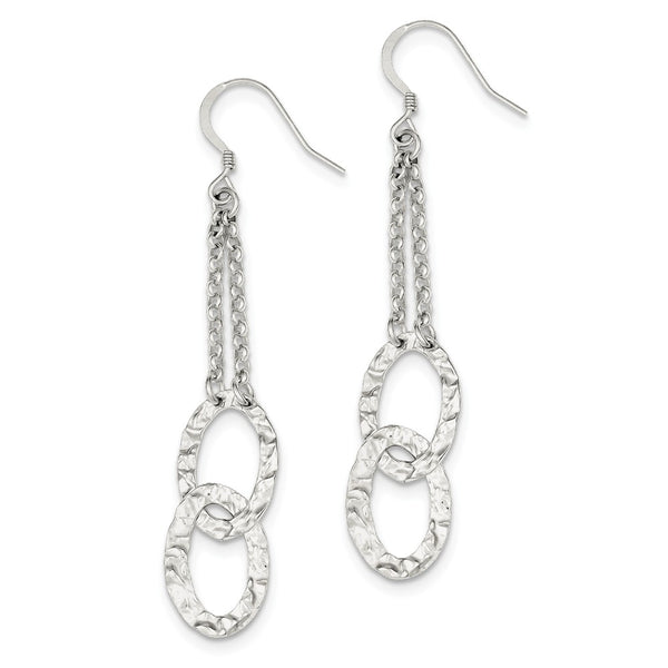 Sterling Silver Polished & Textured Fancy Dangle Earrings