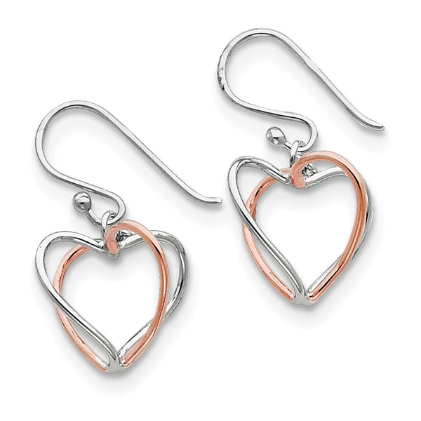 Sterling Silver & Rose Vermeil Heart Dangle Earrings