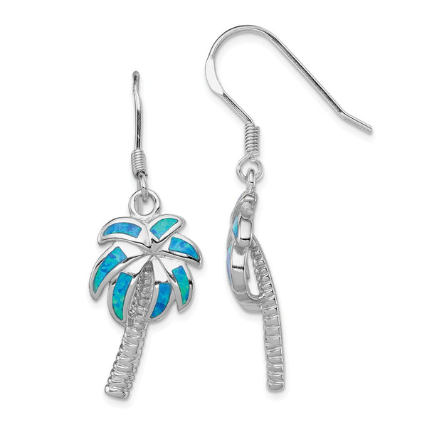 Sterling Silver Created Blue Opal Inlay Palm Tree Dangle Earrings