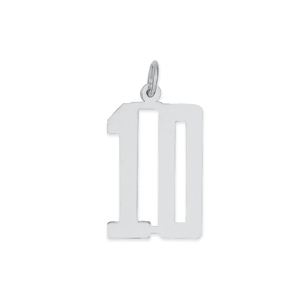 Sterling Silver Rhodium-plated Small Elongated Pol Number 10 Charm