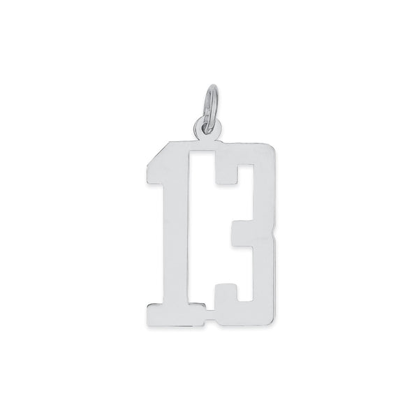 Sterling Silver Rhodium-plated Small Elongated Pol Number 13 Charm
