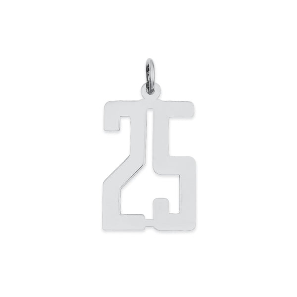 Sterling Silver Rhodium-plated Small Elongated Pol Number 25 Charm