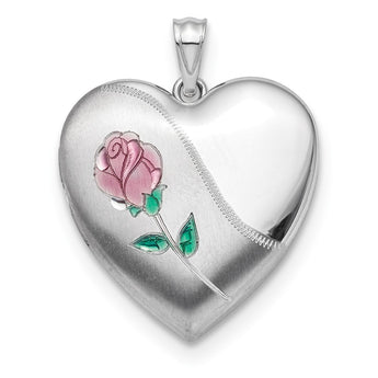 Sterling Silver Rhodium-plated 24mm Satin, Enameled, D/C Rose Locket