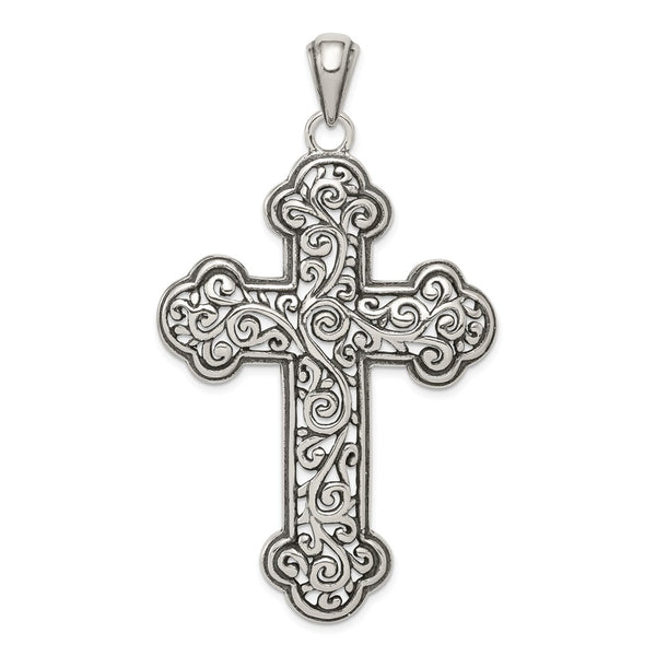 Sterling Silver Antiqued Swirl Cross Pendant