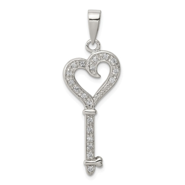 Sterling Silver CZ Heart Key Pendant